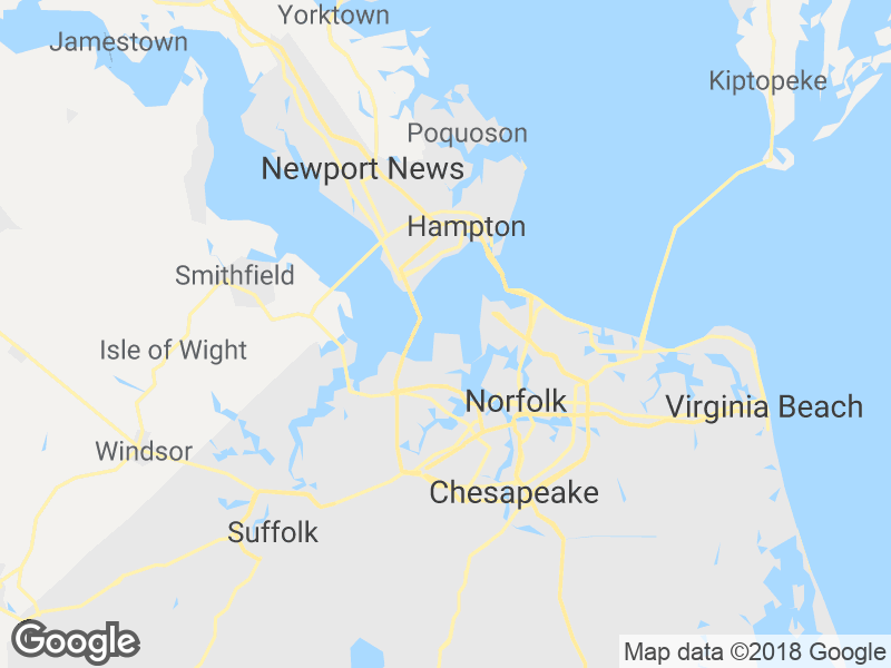 location map for 18 Hunts Neck Road POQUOSON VA 23662